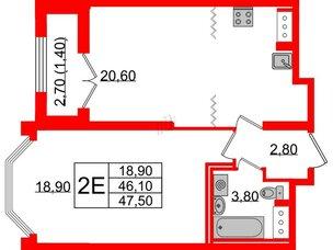 Квартира в ЖК Цивилизация на Неве, 1 комнатная, 47.5 м², 7 этаж