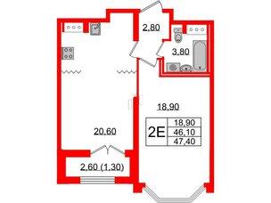 Квартира в ЖК Цивилизация, 1 комнатная, 47.4 м², 14 этаж