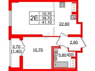 Квартира в ЖК Цивилизация на Неве, 1 комнатная, 41.1 м², 21 этаж