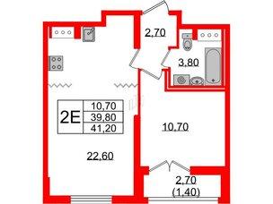 Квартира в ЖК Цивилизация, 1 комнатная, 41.2 м², 22 этаж