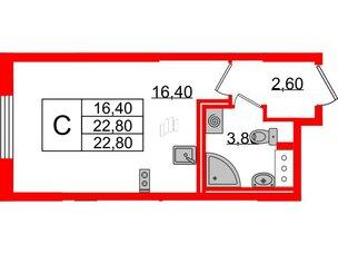 Квартира в ЖК Цивилизация на Неве, студия, 22.8 м², 3 этаж