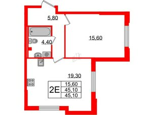 Квартира в ЖК Цивилизация, 1 комнатная, 45.1 м², 2 этаж