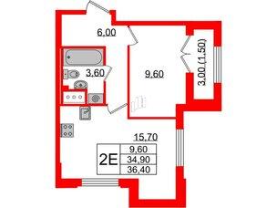 Квартира в ЖК Цивилизация, 1 комнатная, 36.4 м², 22 этаж