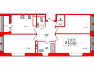 Квартира в ЖК «Нью Тайм», 3 комнатная, 74.46 м², 6 этаж