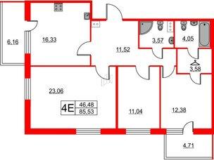 Квартира в ЖК TARMO, 3 комнатная, 85.53 м², 3 этаж