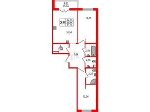 Квартира в ЖК «Новое Горелово», 2 комнатная, 61.16 м², 2 этаж