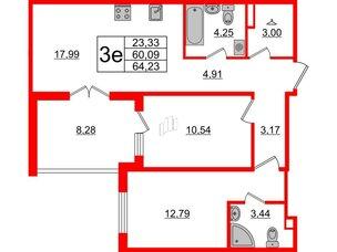 Квартира в ЖК «Новое Горелово», 2 комнатная, 64.23 м², 3 этаж