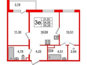 Квартира в ЖК «Новое Горелово», 2 комнатная, 55.28 м², 2 этаж