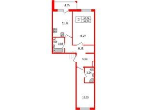 Квартира в ЖК «Новое Горелово», 2 комнатная, 59.26 м², 2 этаж