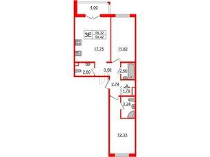 Квартира в ЖК «Новое Горелово», 2 комнатная, 59.42 м², 2 этаж