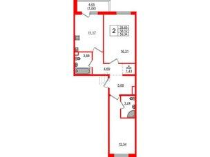 Квартира в ЖК «Новое Горелово», 2 комнатная, 59.34 м², 2 этаж