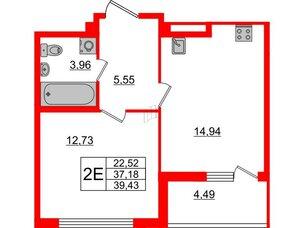 Квартира в ЖК Морская набережная, 1 комнатная, 39.43 м², 2 этаж