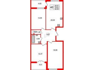 Квартира в ЖК Морская набережная, 3 комнатная, 82.58 м², 15 этаж