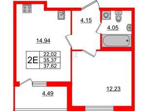 Квартира в ЖК Морская набережная, 1 комнатная, 37.62 м², 2 этаж