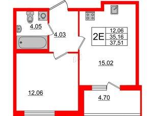 Квартира в ЖК Морская набережная, 1 комнатная, 37.51 м², 2 этаж