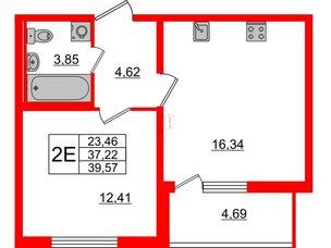 Квартира в ЖК Морская набережная, 1 комнатная, 39.57 м², 13 этаж
