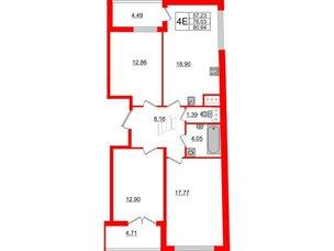 Квартира в ЖК Морская набережная, 3 комнатная, 80.64 м², 13 этаж