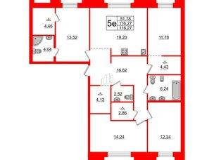 Квартира в ЖК ID Moskovskiy, 4 комнатная, 116.27 м², 2 этаж