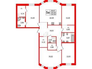 Квартира в ЖК ID Moskovskiy, 4 комнатная, 124.59 м², 5 этаж