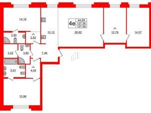 Квартира в ЖК ID Moskovskiy, 3 комнатная, 127.56 м², 2 этаж