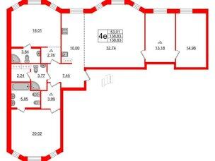 Квартира в ЖК ID Moskovskiy, 3 комнатная, 138.83 м², 4 этаж
