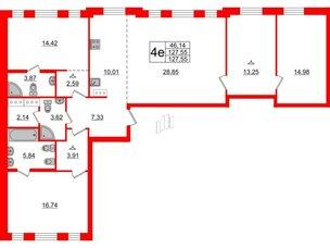 Квартира в ЖК ID Moskovskiy, 3 комнатная, 127.55 м², 8 этаж