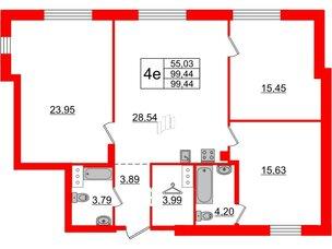 Квартира в ЖК ID Moskovskiy, 3 комнатная, 99.44 м², 4 этаж