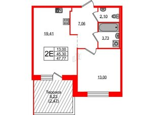 Квартира в ЖК ETA Village Новоселье, 1 комнатная, 47.8 м², 1 этаж