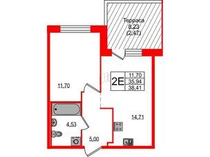 Квартира в ЖК ETA Village Новоселье, 1 комнатная, 38.41 м², 1 этаж