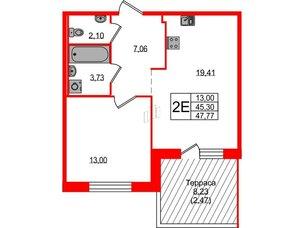 Квартира в ЖК ETA Village Новоселье, 1 комнатная, 47.7 м², 1 этаж