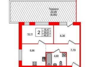 Квартира в ЖК ETA Village Новоселье, 2 комнатная, 46.81 м², 1 этаж