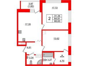 Квартира в ЖК Квартал Уютный, 2 комнатная, 66.63 м², 3 этаж