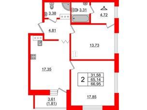Квартира в ЖК Квартал Уютный, 2 комнатная, 65.1 м², 4 этаж