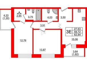 Квартира в ЖК Квартал Уютный, 2 комнатная, 62.84 м², 2 этаж
