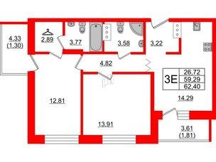 Квартира в ЖК Квартал Уютный, 2 комнатная, 62.4 м², 5 этаж