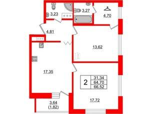 Квартира в ЖК Квартал Уютный, 2 комнатная, 66.52 м², 2 этаж