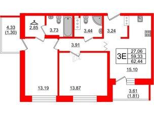 Квартира в ЖК Квартал Уютный, 2 комнатная, 62.44 м², 9 этаж