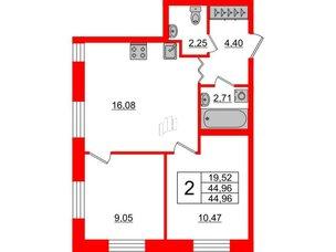 Квартира в ЖК ID Park Pobedy, 2 комнатная, 44.96 м², 2 этаж