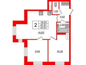 Квартира в ЖК ID Park Pobedy, 2 комнатная, 47.51 м², 4 этаж