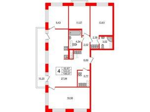 Квартира в ЖК ID Park Pobedy, 4 комнатная, 106.07 м², 9 этаж