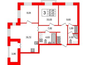 Квартира в ЖК ID Park Pobedy, 2 комнатная, 63.22 м², 3 этаж