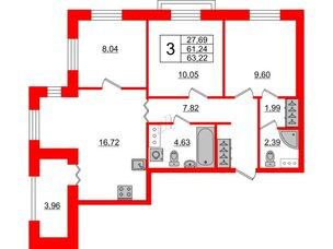 Квартира в ЖК ID Park Pobedy, 2 комнатная, 63.22 м², 4 этаж