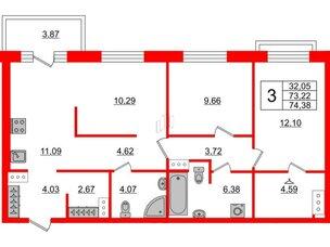 Квартира в ЖК ID Park Pobedy, 2 комнатная, 74.38 м², 9 этаж