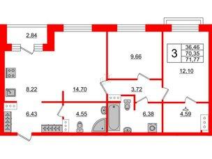 Квартира в ЖК ID Park Pobedy, 2 комнатная, 71.77 м², 10 этаж