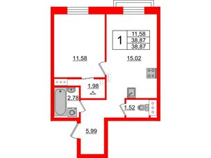 Квартира в ЖК ID Park Pobedy, 1 комнатная, 38.87 м², 4 этаж