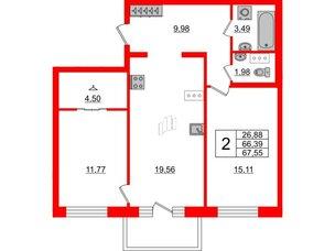 Квартира в ЖК ID Park Pobedy, 2 комнатная, 67.55 м², 9 этаж