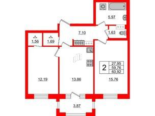 Квартира в ЖК ID Park Pobedy, 2 комнатная, 60.92 м², 3 этаж