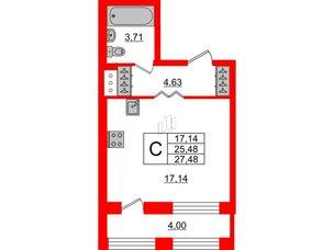 Квартира в ЖК ID Park Pobedy, студия, 27.48 м², 3 этаж