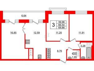 Квартира в ЖК ID Park Pobedy, 3 комнатная, 69.86 м², 10 этаж