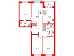 Квартира в ЖК ID Park Pobedy, 4 комнатная, 95.07 м², 10 этаж